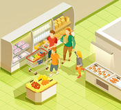 Family Grocery Shopping Supermarket Isometric View Royalty Free Stock Image