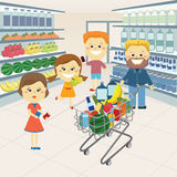 Family at the grocery store. The family at the grocery store with a cart of goods purchased. Vector illustration vector illustration