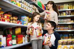 Family at grocery store Stock Photos