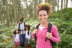 Family Group Hiking In Woods Together Royalty Free Stock Photography