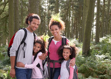 Family Group Hiking In Woods Together Stock Photography