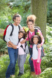 Family Group Hiking In Woods Together Royalty Free Stock Images