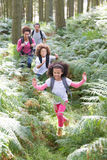 Family Group Hiking In Woods Together Stock Photo