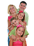 Family Group Portrait on Isolated White Background Royalty Free Stock Photography