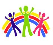 Family Group With Rainbow. A clip art illustration of a family group with a rainbow behind them Stock Photography