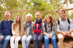 Family group sitting on a small bridge in a forest, portrait Stock Photography