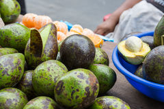 Family grown Avocados in Iquitos, Peru. Family grown avocados, sold near the belen market area by the farmer's family Stock Photo