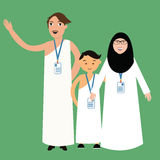 Family haj hajj pilgrim man father mother woman kids wearing islam hijab ihram clothes vector illustration Royalty Free Stock Images