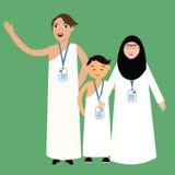 Family haj hajj pilgrim man father mother woman kids wearing islam hijab ihram clothes vector illustration. Cartoon stock illustration