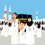 Family haj hajj pilgrim man father mother woman kids wearing islam hijab ihram clothes vector illustration mecca ka'ba kabba kaba. Vector stock illustration