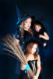 Family halloween. Family mother with two daughters ready for halloween party Stock Photos