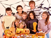 Family on Halloween party with children Royalty Free Stock Photography