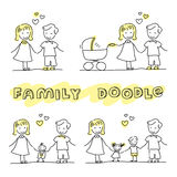 Family hand drawn stick figures on white background. Royalty Free Stock Photo