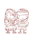 Family. Hand drawn vectors illustration or drawing of an indigenous Raramuri mexican family Stock Photo
