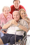 Family with handicap father vertical. Isolated on white Royalty Free Stock Images
