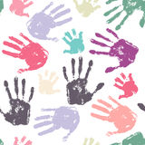 Family handprint seamless pattern Royalty Free Stock Photography