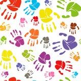Family handprints seamless pattern Raster illustration. Family handprints of mom, dad, child and baby. Social. Raster illustration royalty free illustration