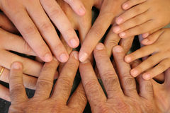 Family hands stock image
