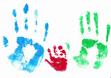 Family hands. Colored family hands isolated on white background Royalty Free Stock Images