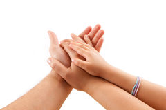 Family Hands. Happy family hands man. women and kid on white background Royalty Free Stock Images