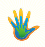 Family hands protection Stock Photo