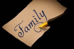 Family handwritten label Stock Image