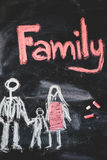 Family handwritten with white chalk on a Stock Photography