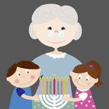 Family with Hanukkah lights. Grandma and her grandsons with menorah. Vector Stock Image