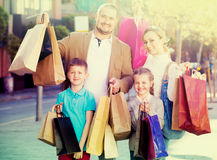 family happily shopping together Royalty Free Stock Images