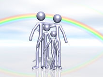 Family Happiness. A 3D Render of a cute cartoon stick family with dreamy rainbow in background Royalty Free Stock Photos