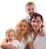 Family happiness. On the white Stock Images