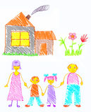 Family happiness. Family and home. Free-hand drawing vector illustration