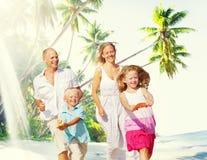 Family Happiness Beach Tropical Paradise Fun Concept.  Stock Photos