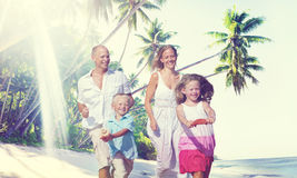 Family Happiness Beach Tropical Paradise Fun Concept.  Royalty Free Stock Images