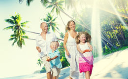 Family Happiness Beach Tropical Paradise Fun Concept.  Stock Photo
