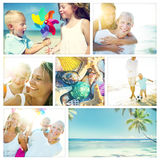 Family Happiness Beach Tropical Paradise Fun Concept.  Stock Images