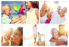 Family Happiness Beach Tropical Paradise Fun Concept.  Stock Photography