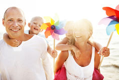 Family Happiness Beach Tropical Paradise Fun Concept Stock Photography