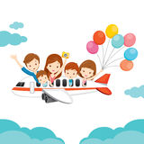 Family Happy on Airplane. Vacations Holiday Travel Destination Journey Trips Transportation Stock Image