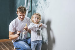 Free Family, Happy Daughter With Dad Doing Home Repair, Paint Walls, Royalty Free Stock Images - 79113969