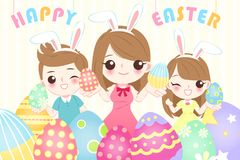 Family with happy easter. For your holiday concept Stock Photography
