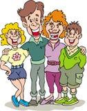 Family - Happy Family. Happy Family cartoon artwork line-art stock illustration