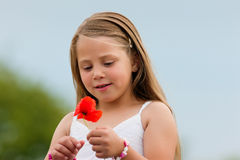 Family - Happy girl with corn poppy Stock Photography