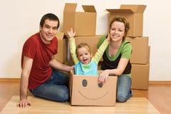 family happy home new their Στοκ Φωτογραφία