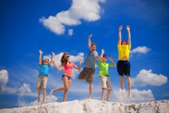 Family happy jump Royalty Free Stock Images