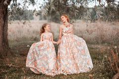 Family happy outdoors. The Mother and daughter in matching dresses royalty free stock photo