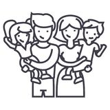 Family,happy parents and children keep on hands vector line icon, sign, illustration on background, editable strokes. Family,happy parents and children keep on Royalty Free Stock Image