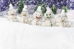Family is happy snowmen Royalty Free Stock Image