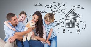 Family happy together with dog and garden drawing. Digital composite of Family happy together with dog and garden drawing Royalty Free Stock Images
