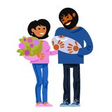 Family. Happy young parents with new born baby. Child birth concept. Cartoon vector. vector illustration